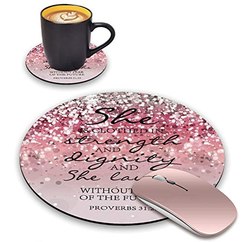 BWOOLL Round Mouse Pad and Coasters Set, Pink Glitter Mouse Pad, Christian Quote Bible Verse Proverbs 31:25 Design Mouse Pad, Non-Slip Rubber Base Mouse Pads for Laptop and Computer