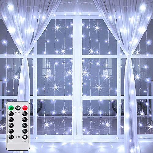 Ollny Curtain Fairy Lights,300 Led Curtain Lights Waterproof Cool White Fairy Lights USB Powered Outdoor String Lights 3m x 3m with Remote for Indoor Bedroom Christmas Party Wedding Patio Decoraions