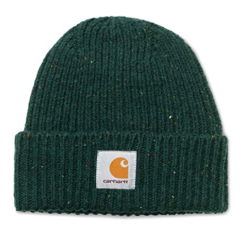 Carhartt WIP Anglistic Beanie Unisex Winter Mütze mit 7kmh Aufkleber Grün 10213