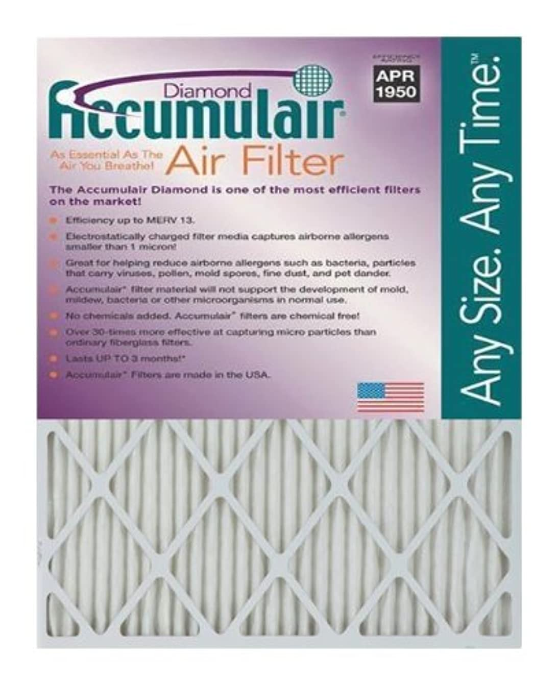Accumulair Diamond 20x23x1 (19.5x22.5) MERV 13 Air Filter/Furnace Filter (3 Pack)