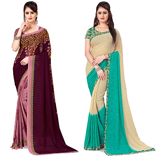 Anand Sarees Georgette with Blouse Piece Saree (Pack of 2) (Combo_AS_1108_3_1194_2_Multicoloured_One Size)