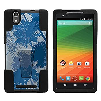 Compatible with ZTE ZMax Z970  T-Mobile Metro PCS  Hybrid Dual Layer Inverse Case with Built-in Kickstand Cover Bundle Includes Free Screen Protector  Blue Rainforest