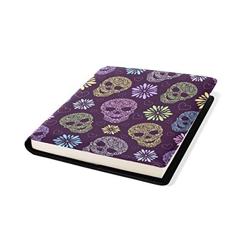COOSUN Résumé Motif Skulls Floral Book Cover Sox Stretchable Livre, La Plupart des Fits Relié jusqu'à 9 manuels x 11. adhésif Libre, école Cuir PU Livre Protector 9 x 11 Pouces Multicolore