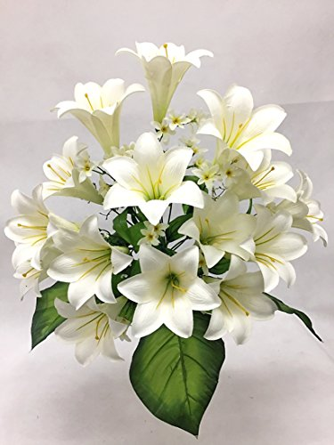 Silk Flower Garden 15 Heads Easter Lily Bouquet, Cream
