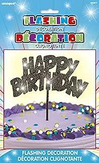 Flashing Black Happy Birthday Cake Topper Decoration