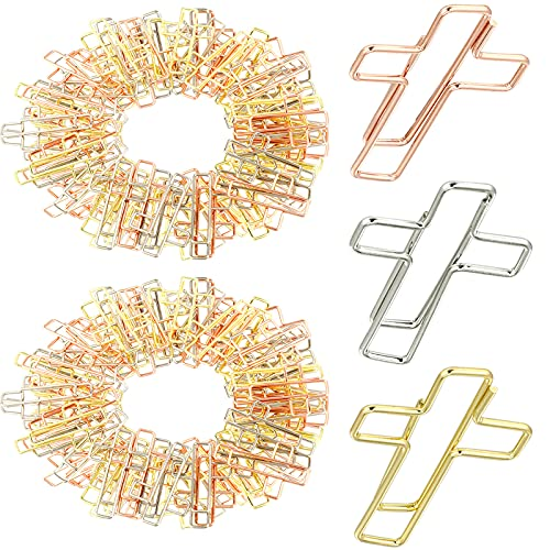 120 Pieces Cross Paper Clips Bible Clips Journaling Paper Clips Cross Bookmarks Planner Clips with Transparent Storage Box for Home Office School Bible Study Supplies, 3 Colors