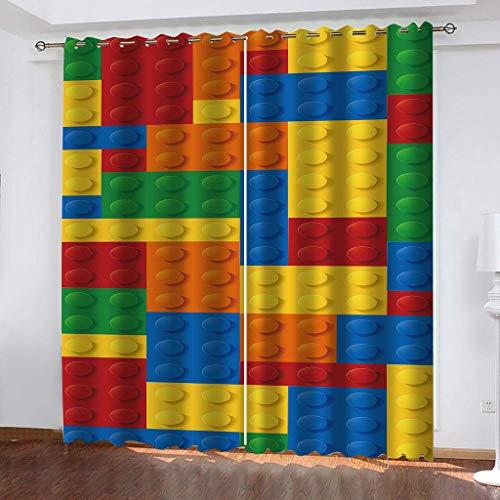 Bbrand Cortinas Aislantes Térmicas Impresión 3D - con Ojales,Reducir el Ruido y Aislantes Térmicas - Decoración del hogar para salón y Dormitorio Lego Gao150cm x170 cm(WxL)