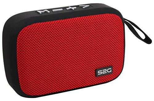 Sound2Go TRAVEL Bluetooth Lautsprecher mit TWS Funktion, FM-Radio, USB-Micro-SD, Freisprechfunktion, für unterwegs, Schwarz/Rot
