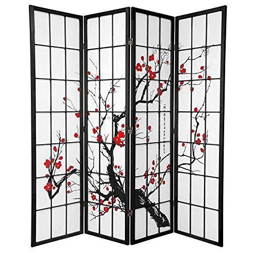 Fine Asianliving Paravent Japonais Shoji L180xH180cm 4 Panneaux Paper de Riz - Fleurs de Cerisier Séparateur de...