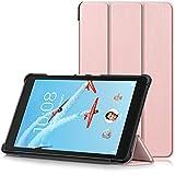 TTVie Housse pour Lenovo Tab E8 - Étui Ultra Mince et Léger à Rabat avec Support pour Lenovo E8 TB-8304F Tablette Tactile 8' Modèle 2018, Or Rose