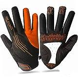 Amrta Fahrradhandschuhe Herren Damen MTB Voller Finger mit Gel Gepolstert Für Outdoor Sport (schwarz/orange, M)