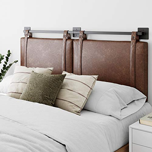 Nathan James Harlow Wall Mount Faux Leather or Fabric Upholstered Headboard, Adjustable Height Vintage Brown Straps with Black Matte Metal Rail, Full Queen
