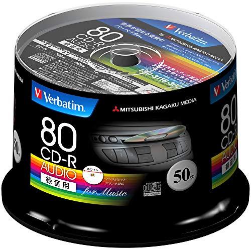 Verbatim バーベイタム 音楽用 CD-R 80分 50枚 ホワイトプリンタブル 48倍速 MUR80FP50SV1