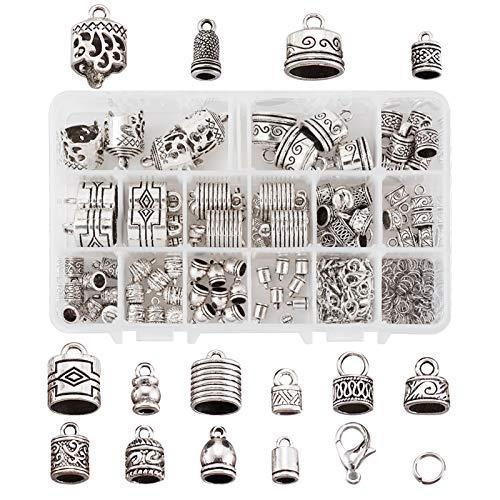 Confezione da 120 pezzi, 14 stili di colla tibetana argento in corda, tappi a colonna, con anelli di salto e chiusura a moschettone per collana in pelle, bracciale e tappi terminali