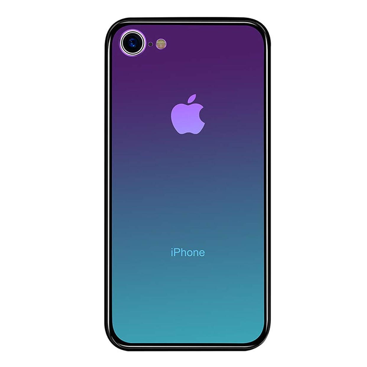 フルーツ野菜エロチック調整iPhone7 ケース iPhone8 ケース LAYJOY アイフォン7/8 カバー 強化ガラスケース 透明 背面ハードガラス9H硬度 + ソフトTPUバンパー [耐衝撃 落下防止 軽量 レンズ保護] [Qi充電対応] iPhone 7/8用 スマホケース (オーロラ)