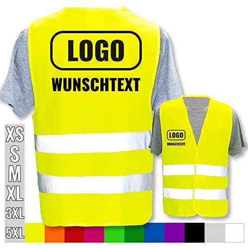 Hochwertige Warnweste mit Leuchtstreifen * Bedruckt mit Name Text Bild Logo Firma * personalisiertes Design selbst gestalten, Farbe Warnweste:Gelb (XL/XXL), Druckposition:Rücken + rechte Brust