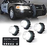 Xprite 4 White LED Hideaway Strobe Lights Kit 20 Flash Patterns Hazard...