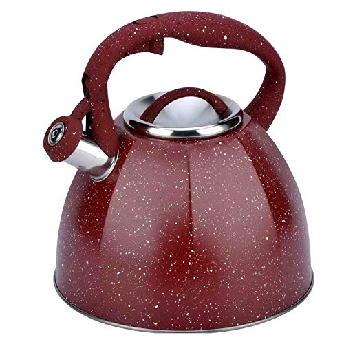 Nordic Style Stainless Steel Large-capacity Whistling Kettle, Induction Cooker, Gas, Gas Kettle, Home Tea House, Cafe (Color : Red)