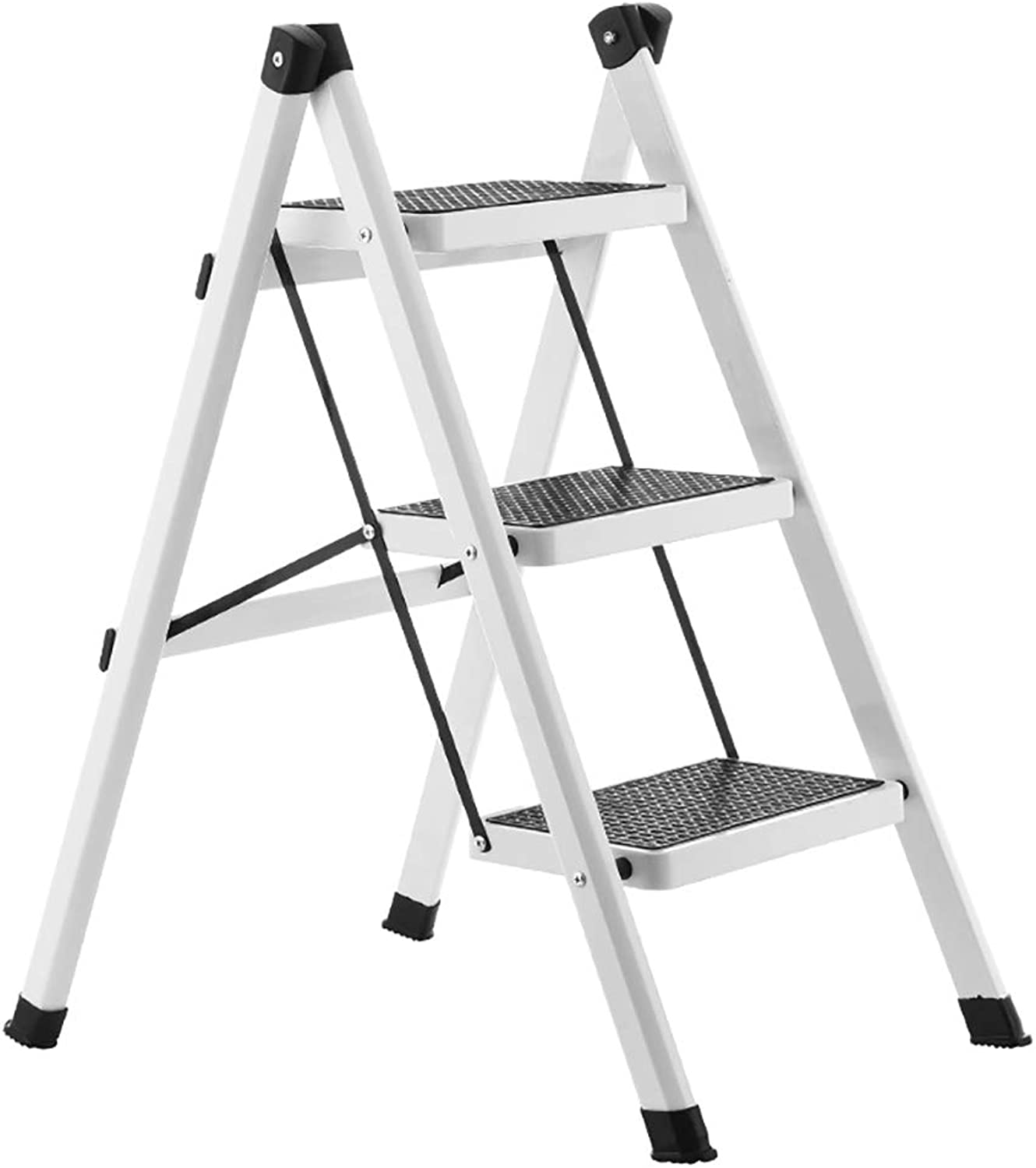 LXJYMX Home Folding Ladder, Iron Insulated Ladder, Multi-Purpose Ladder, Portable Unilateral Ladder. Climbing Ladder (color   White)