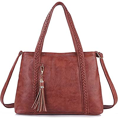 IYAFFA Leather Tote Bag for Women, Shoulder Handbag Compatible with Tassel Crossbody Purse Soft and Large Capacity