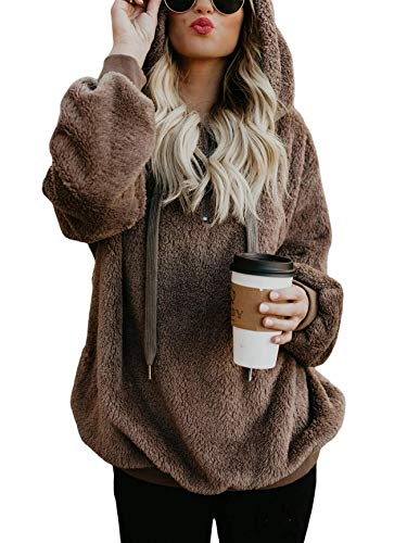 American Trends Oversized Sweatshirts for Women Athletic Womens Sherpa Hoodie Fluffy Women's Hoodies Pullover with Pockets Brown Small