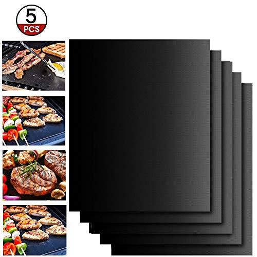 Extsud Set de 5 Tapis de Cuisson Tapis BBQ Barbecue Plaque Feuille de Cuisson Four 40 * 33cm pour barbecue gaz charbon électrique 100% Anti-adhérent