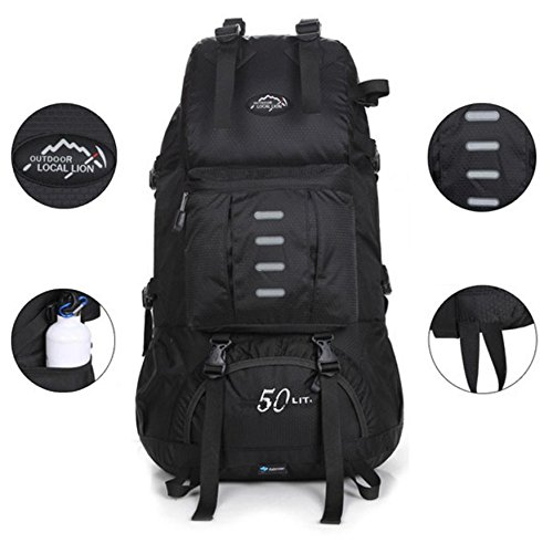 Alpinisme en plein air bag forfait randonnée sac à dos polyester loisir tourisme voyage pour hommes et femmes 50L , black