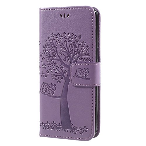 jbTec Handy Hülle Case Baum - Schutz Tasche Smartphone Flip Cover Phone Bag Klapp Klappbar Etui Handyhülle Handytasche, Farbe:Flieder, passend für:Samsung Galaxy S8 / Duos