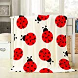 Mugod Ladybug Throw Blanket Red and Black Ladybug Seamless Pattern on White Background Decorative Soft Warm Cozy Flannel Plush Throws Blankets for Baby Toddler Dog Cat 30 X 40 Inch