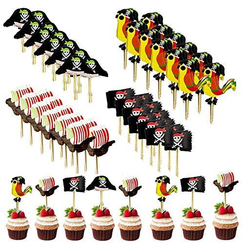 Etern 48 Piezas Toppers de Pastel Pirata, Palillos de Cóctel de Sombrero Pirata, Decoración Torta Pirata de Toppers, para Fiesta Temática Pirata, Inserto de Cóctel, Inserto de Pastel de Cumpleaños
