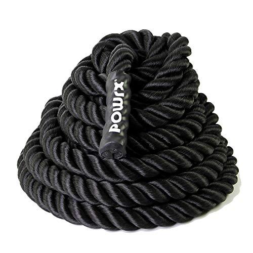 POWRX Battle Rope 15M x 38 mm Ø - Ideale per Esercizi di »Functional Fitness«, velocità e Resistenza Muscolare - Prese Antiscivolo + PDF Workout (Canapa Grossa)