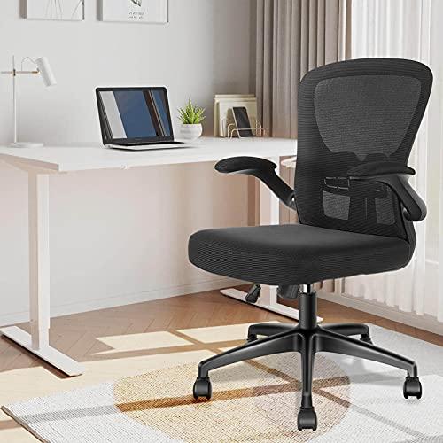 YONISEE Bürostuhl Schreibtischstuhl - Ergonomisch Burostuhl mit Armlehne Verstellbarer Lendenwirbelstütze, luftdurchlässiges Schwammsitz, Stummrädern Wippfunktion Office Chair Chefsessel Drehstuhl