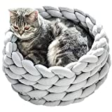 """Huret Chunky Knitted Pet Beds, Handmade Cuddler Cat Bed, Cozy Arm Knit Cotton Yarn Cat Dog Bedding Washable, Light Grey, 17.7"""""""
