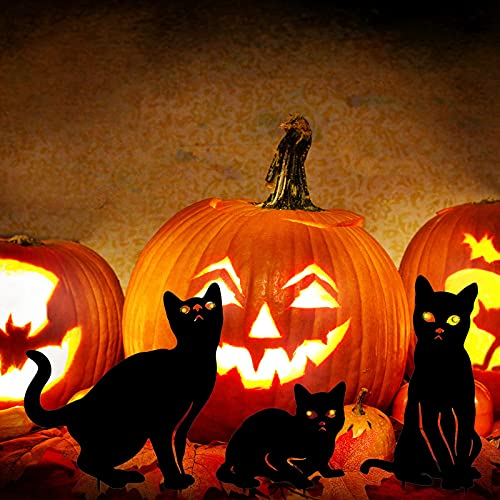 YEAHOME Metal Cat Decorative Garden Stakes, Black Cat Silhouette Halloween Yard Stakes Garden Fall Decor Outdoor Statues with Reflective Eyes Halloween Cat Decorations Set of 3