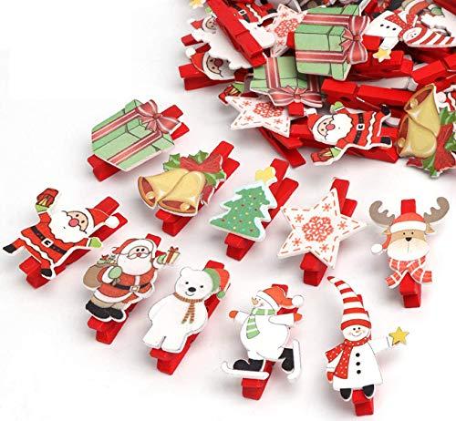 ABSOFINE 50er Weihnachten Klammern Weihnachtsdeko Holzklammern für Fotos Mini Klammern mit süßen Weihnachten Figuren Wäscheklammern Dekoklammern Holzwäscheklammern Zierklammern