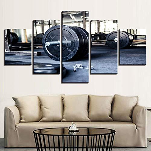 TBDZPS 5 Pannelli Quadri su Tela Wall Art Home Decor Soggiorno Sollevamento Pesi Sport Palestra Fitness Poster HD Prints Pictures