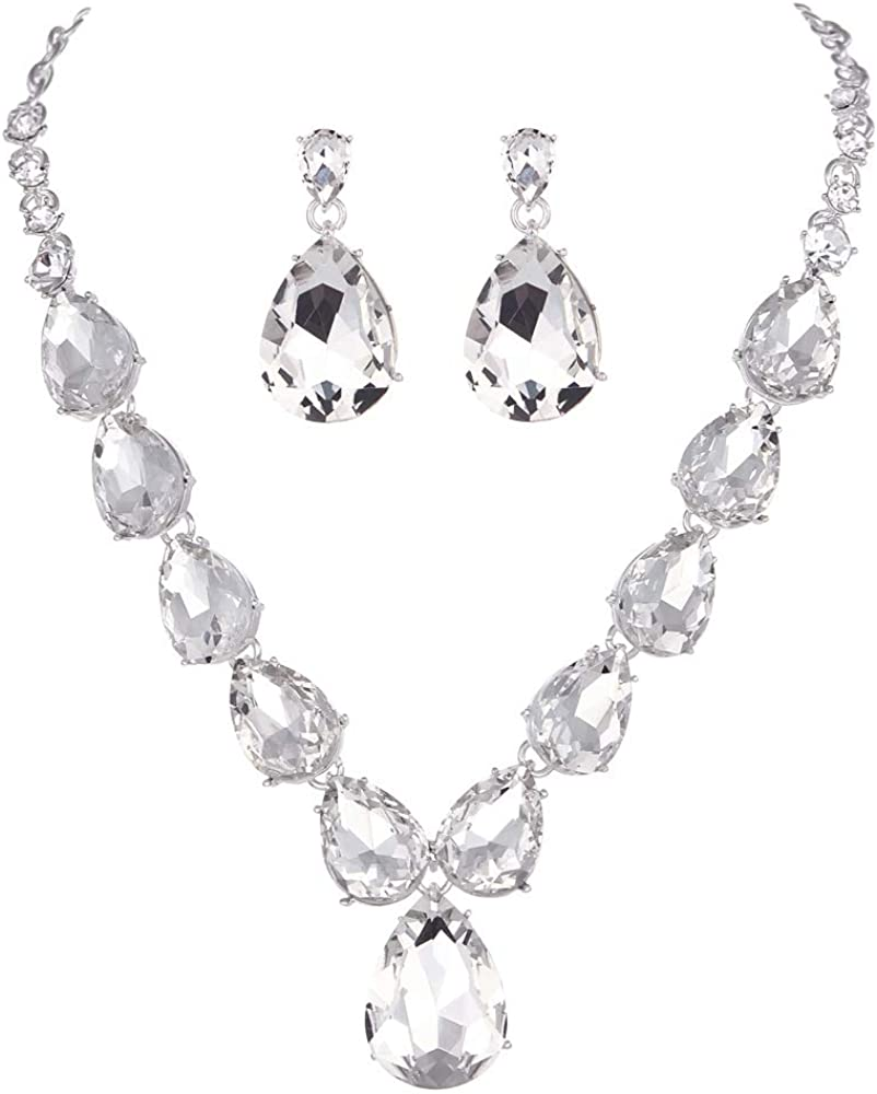 Youfir Rhinestone Crystal Prom Necklace and Earrings Jewelry Sets for Women Dress