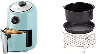 Dash DCAF150GBAQ02 Compact Air Fryer Oven Cooker with Temperature Control, Non Stick Fry Basket, Recipe Guide + Auto Shut off Feature, 1.2 qt, Aqua & DCAF150UP1 Accessory Air Fryer, Compact