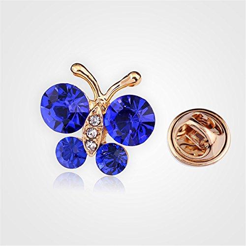 Reizteko Brooch Pin Elegant Butterfly Scarf Pin Lapel Brooch Button Hat Pin for Women's Jewelry (Blue) Photo #2