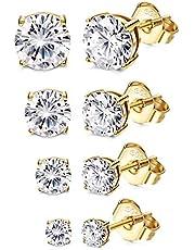 YADOCA 4–5 par silver guld örhängen för kvinnor flickor 925 sterling silver kubisk zirkonia örhängen set allergivänliga runda cz örhängen storlek 2–6 mm damsmycken gåva