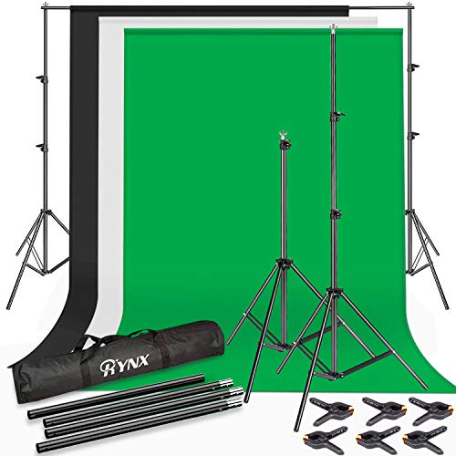 Photo Studio Kit 6.5 X 10 ft Backdrop Stand Background Support System with Cotton Chromakey Screen Muslin Backdrop (White, Black, Green) for Portrait Product Video Shooting