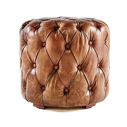 Phoenixarts Chesterfield Echtleder Ottoman Hocker Braun Vintage Leder Fußhocker Pouf Sitzhocker 559