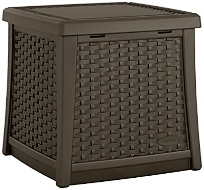 Suncast Elements 13-Gallon End Table with Storage - Lightweight Resin Outdoor Storage Patio and Coffee Table for Cushions, Gardening Tools and Toys - Store Items on Patio - Java (BMDB1310)