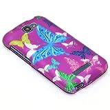 3 Items Combo: ITUFFY (TM) Stylus Pen + Case Opener + Design Rubberized Snap on Hard Shell Phone Case for (2014) Alcatel OneTouch Fierce 2 / 7040T / Pop Icon A564C (Purple Color Butterfly)
