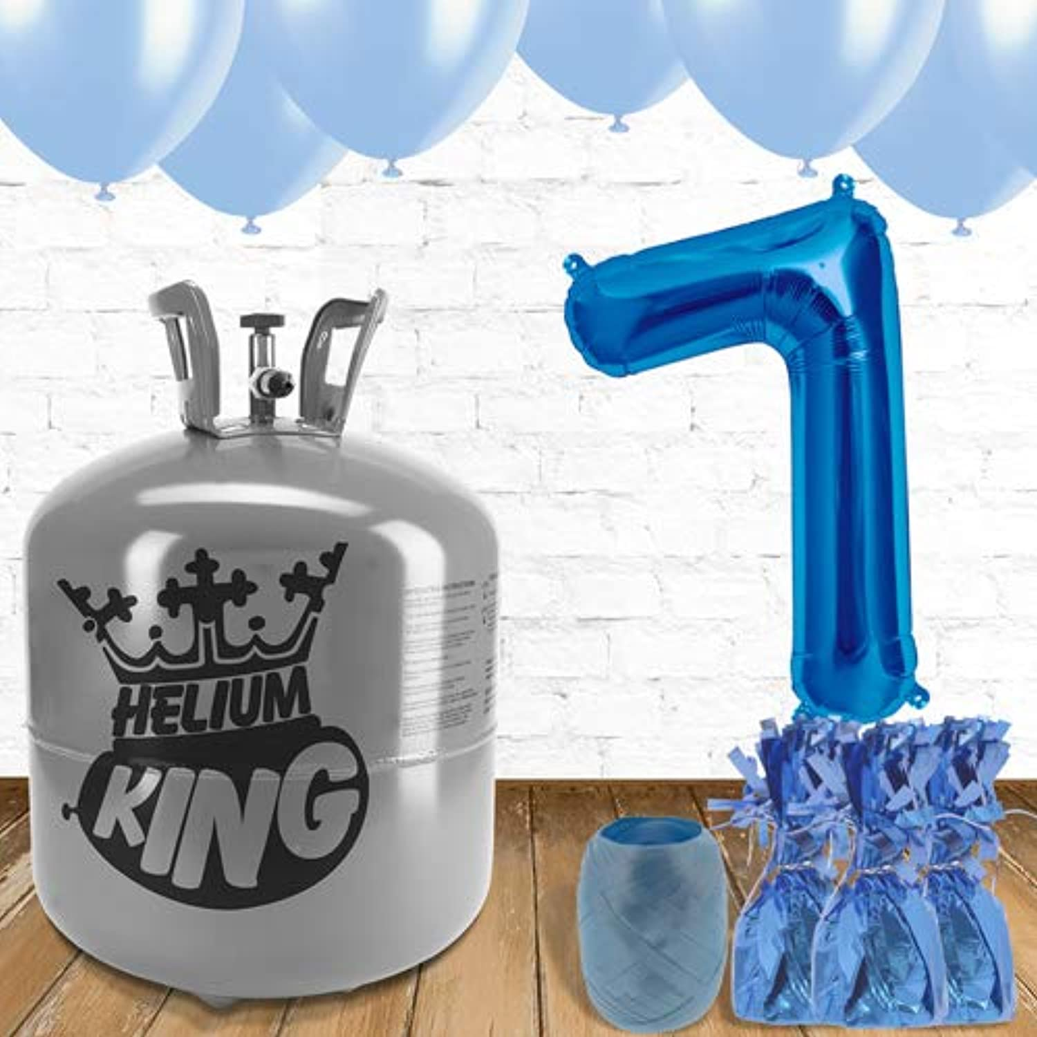 7th Birthday Helium Gas Package with bluee Balloons