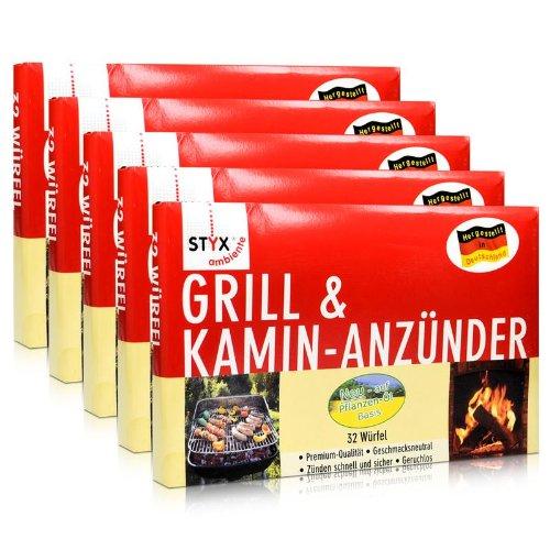 5x Styx Ambiente Grill & Kamin Anzünder 32 Würfel