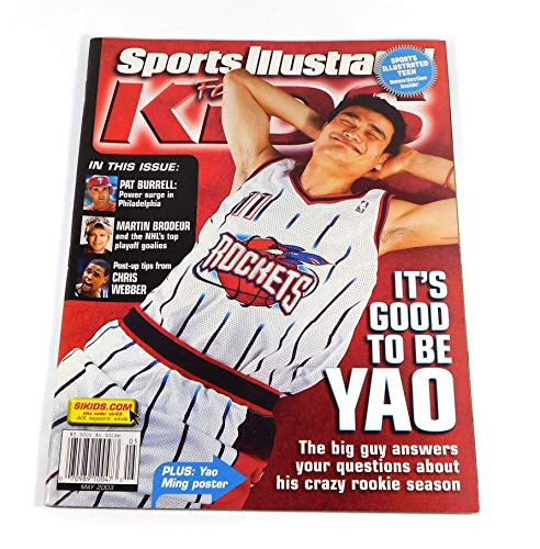 LeBron James Rookie Card in Sports Illustrated for Kids Magazine Yao Ming Cover May 2003 Full 9 Card Sheet Attached