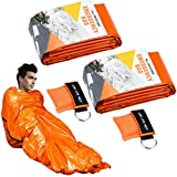 WEKON 2pcs Saco de Emergencia, Saco de Dormir Supervivencia, Saco de Dormir Emergencia, Manta Supervivencia, Saco de Dormir Portátil Plegable Narranja Brillante con 2 Máscara CPR Uso Exterior