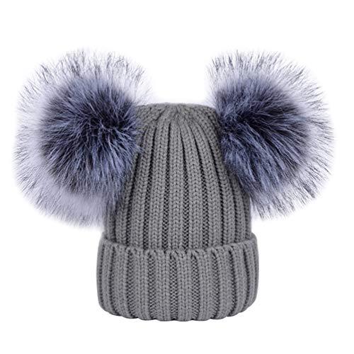 YoungSoul Strickmütze für Baby Mädchen Jungen Wintermütze Gerippte Beanie Mützen mit zwei bommeln aus Kunstfell Grau 0-6 Jahre
