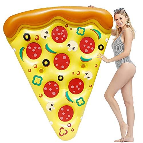 Qiuetpdor Tappetino Pizza Gonfiabile 188x130 CM, Giochi da Piscina Pizza Gonfiabile per Piscina, Materassino Gonfiabile per Lounge, Letto Galleggiante Gonfiabile, Estate All'Aperto (Giallo) (Giallo)